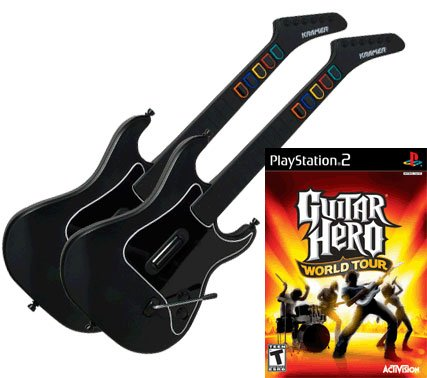 Guitar Hero World Tour for PS2 + 2 x Guitar Hero Kramer Striker Wireless Guitar Controller for PS2
