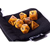 Burnt Amber Swirl Polyhedral Dice Set | 7 Piece | PRISTINE Edition | FREE Carrying Bag | Hand Checked Quality | Money Back Guarantee