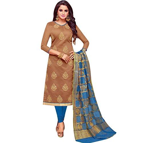 (Ladyline Womens Formal Silk Embroidered Salwar Kameez with Banarasi Silk Dupatta Ready to wear Salwar Suit)
