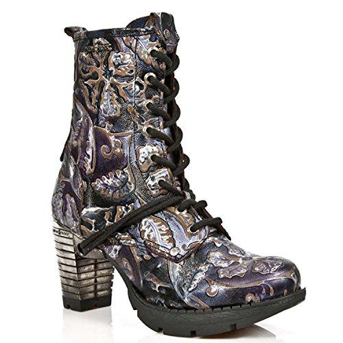NEWROCK TR001 S4 New Rock Damen Lederstiefel Ferse Spur gotische Blumen Lila Gold Stiefeletten