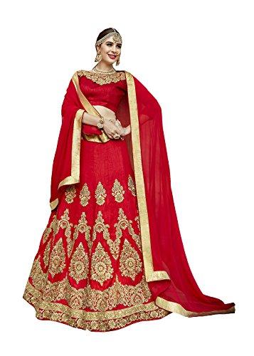 Da Facioun Indian Designer Partywear Ethnic Traditional Red Lehenga Choli by Da Facioun