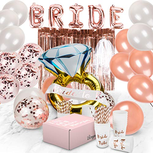 Bachelorette Party Decorations | Bridal Shower Supplies Kit - Bride to Be Sash, Cups, Straws, Veil, Banner, Balloons, Rose Gold Curtains & Decor Accessories -
