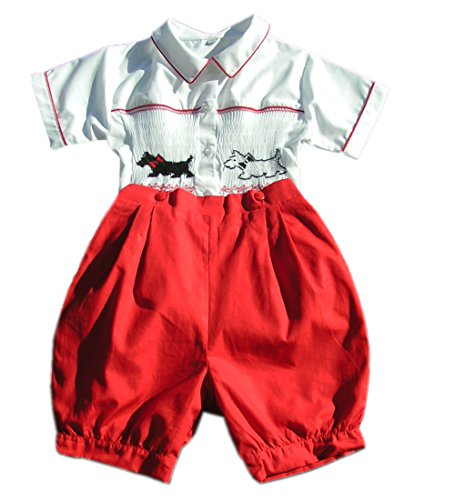 Boys Smocked Scottie Dogs Prince Philip Buttons on Shorts -
