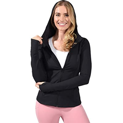 Yogalicious Womens Long Sleeve Full Zip Up Hoodie Jacket at Women's Clothing store
