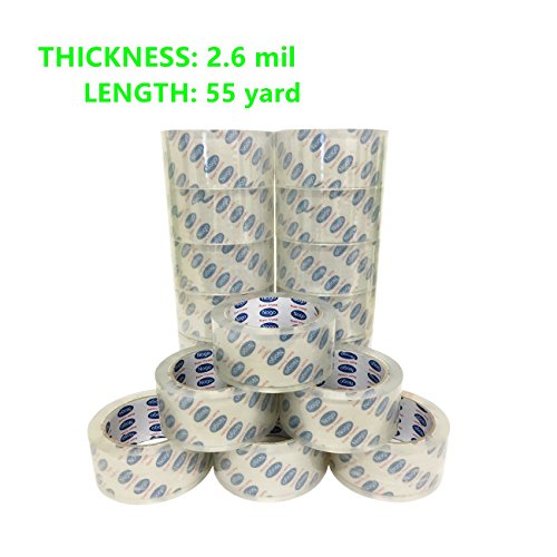 Mistmo 6 Roll 2.6 MIL 2'' X 55 Yards (165' ft) Ultra Premium Tape Heavy Duty Carton Packing Packaging Sealing Tape, Crystal Clear from Mistmo Packaging Solution