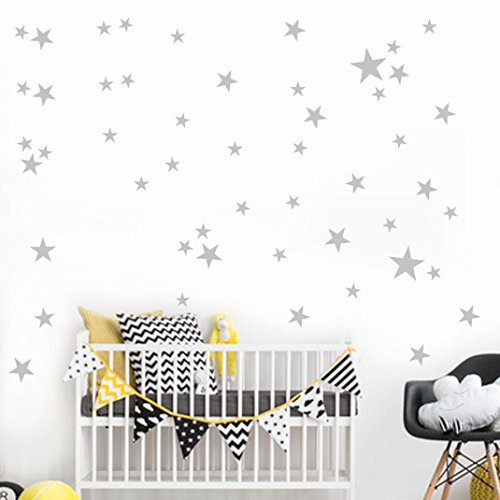 Zoo Wallpaper Border - YJYDADA 34Pcs Star Removable Art Vinyl Mural Home Room Decor Kids Rooms Wall Stickers (gray)