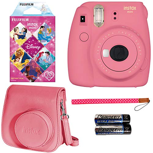 FujiFilm Instax Mini 9 Flamingo Pink with Princesses Film, Groovy Case, Camera Strap and 2-AA Batteries -