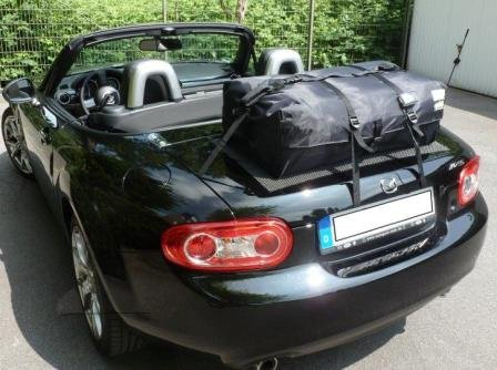 Miata Trunk Lid - Mazda Miata NC Trunk Luggage Rack : Hand Made in England Waterproof Luggage Bag Simply Straps to the Trunk Lid - No Rack Boot-bag Original