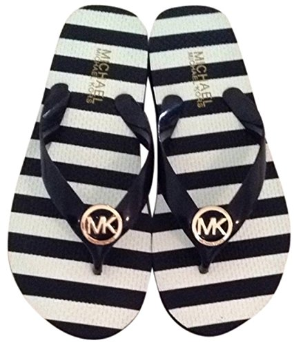 ca14cd1d3249a Michael Kors Striped Flip Flop With Silver Logo