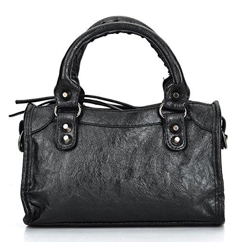 Women Leather Black Studed Mini Motorcycle Bags Tassel Shoulder Cross-body Bags (24cm Length, Cool ()