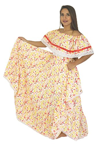 Mexican Clothing Co Womens Mexican Adelita Costume Blouse n Skirt Poplin one size Yellow 4254 (Mexican Ladies Costume)