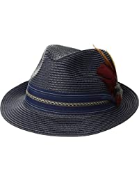 Mens Poly Braid Pinch Front Fedora With Fancy Band Navy XL One Size