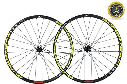 Superteam Carbon MTB Disc Brake Wheelset 29er Tubeless Wheel 30mm Width with Six Bolt Hub (Fluorescent Yellow Decal, Thru-Axle Type Front 15100mm Rear 12142mm)