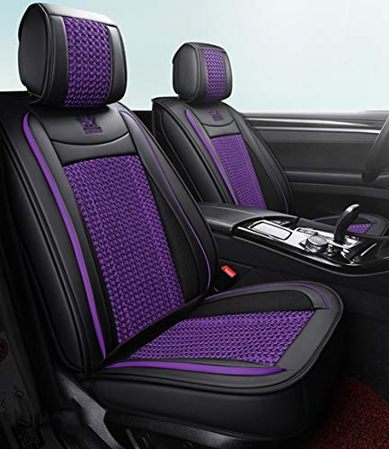 Leather Ice-silk Car Seat Cover- Anti-Slip Suede Backing Universal Fit Car Seat Cushion for Both Fabric and Leather Car Seats,Purple: