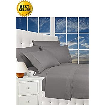 Best Seller Luxurious Bed Sheets Celine Linen 1800 Thread Count Egyptian Quality Wrinkle Free 4-Piece Sheet Set with Deep Pockets 100% HypoAllergenic, Queen Gray