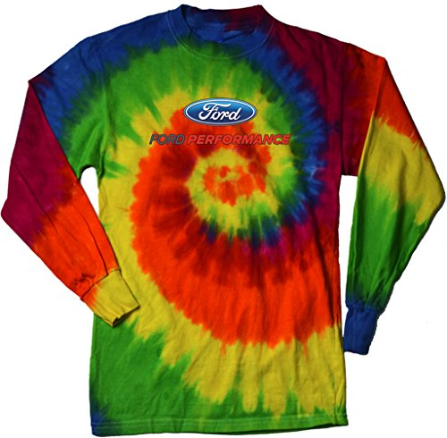 (Ford Performance Long Sleeve Tie Dye T-shirt, Moondance,)