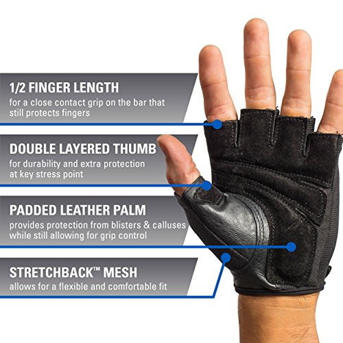 Harbinger Power Non-Wristwrap Weightlifting Gloves with StretchBack Mesh and Leather Palm (Pair), Large