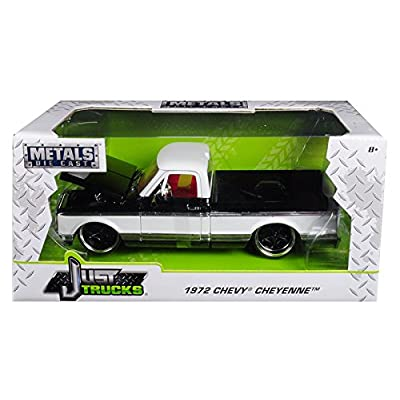 1972 Chevrolet Cheyenne Pickup Truck Black/White 1/24 Diecast Car Model by Jada 99047: Toys & Games