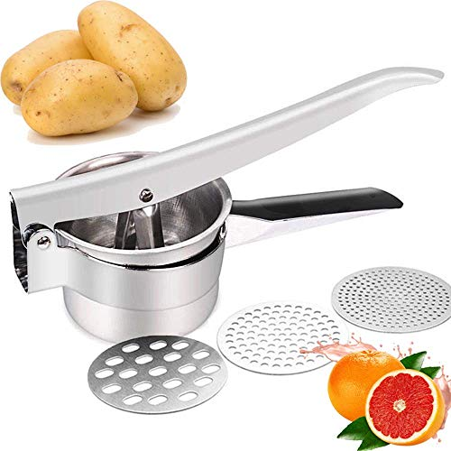 JmeGe Kartoffelpresse (voll gedämpft) Obst und Gemüse Stampfer Große Kapazität 420ml 100% Edelstahl (Silber)