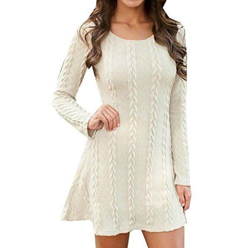 Damen Kleider Frauen Herbst Und Winter Mit Langen Ärmeln Rundhals Pullover Kleid Normallackrock Strickkleider Freizeitkleid Weiß zatKaMuO1z