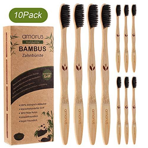 Bambus Zahnbürsten 10 Pcs 100% BPA freie Vegan Natur Bambus Holzzahnbürste mit umweltfreundlicher Packung des Papiers…