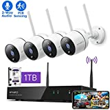 XMARTO Wireless Security Camera System - 8CH Expandable NVR with 4 1080p WiFi Security Cameras - PIR & Video Dual Motion Detection, Video Clip Alert, 2-Way Audio, IR Night Vision Weatherproof, 1TB HDD
