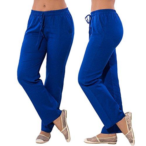 Pantalones Streetwear Moda Chifón Color Cintura para Largo Pantalones Cómodo Fit Mujer Media Sólido Slim Cintura Casual Pantalon Elástica de Azul UTfwqgt