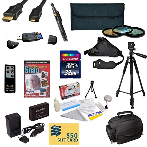 47th Street Photo Must Have Accessory Kit for the Canon EOS M, SL1 - Kit Includes: 32GB High-Speed SDHC Card + Card Reader + Extra Battery + Travel Charger + 58MM 3 Piece Pro Filter Kit (UV, CPL, FLD Lens) + HDMI Cable + Padded Gadget Bag + Remote Control by 47th Street Photo