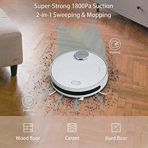 360 Robot Vacuum and Mop Cleaner, Compatible with Alexa, Intelligent Cleaning with 1800Pa Super Power Suction, Laser Navigating, Multi-Map Management, Up to 110Min for Pet Hair, Carpet and Hard Floor