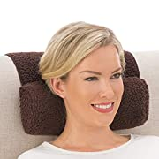 Collections Etc Adjustable Neck Roll Plush Support Pillow for Travel or Home - Machine Washable, Brown