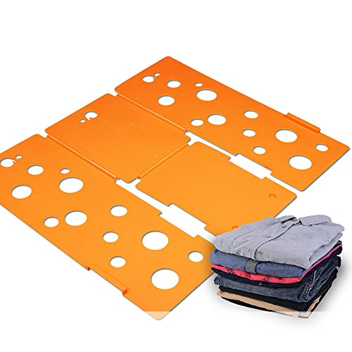 BoxLegend Clothes/T Shirt Folder Plastic 4mm Thickness Shirt Folding Board Easy and Fast Laundry Folder Flipfold (Orange) (Laundry Clothes Folder)