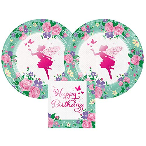 Fairy Birthday Party Supplies (Fairies and Flowers Pink Metallic Birthday Plates and Napkins, 16 Servings, Bundle- 3)