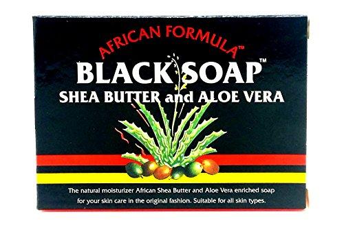 Aloe Butter Soap - African Formula Black Soap 3.5 Ounce Shea Butter & Aloe Vera (103ml) (6 Pack)