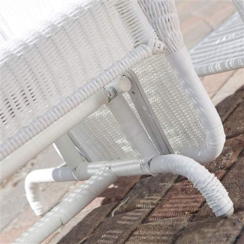 CHOOSEandBUY White Resin Wicker Outdoor 2-Seat Loveseat Glider Bench Patio Armchair Glider Bench Patio Outdoor Furniture