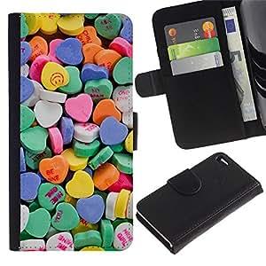 Apple iPhone 4 / iPhone 4S Modelo colorido cuero carpeta tirón caso cubierta piel Holster Funda protección - Heart Candy Valentines Sweets Love