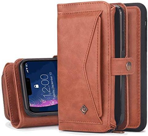Samsung Galaxy S9 レザー ケース, 手帳型 サムスン ギャラクシー S9 本革 ポーチケース カバー収納 全面保護 ビジネス 財布 無料付スマホ防水ポーチIPX8 Business
