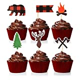 Lumberjack Theme Cupcake Toppers Cake Picks Decoration for Woodland Baby Shower Birthday Party Favors, Camping Party Supplies Set of 24