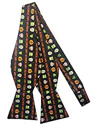 Men's Happy Halloween Monsters Frankenstein Mummy Witches Jack-O-'Lantern Self-Tie Bow Tie