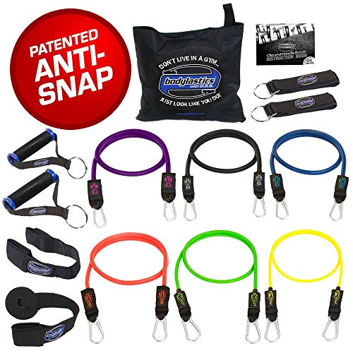 Bodylastics Stackable (14 Pcs) MAX XT Resistance Bands Sets. This Leading Exercise Band System Includes 6 of Our Best Quality Anti-Snap Exercise Tubes, Heavy Duty Components, and a Travel Bag Exercise Bands Tubing