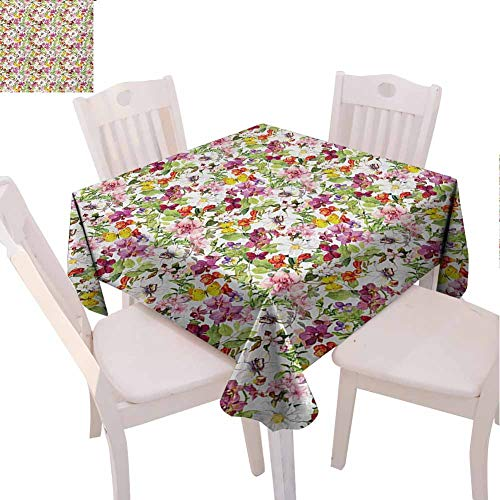 VICWOWONE Elegant Square Tablecloth Flower Single-Sided Printing French Vintage Retro Flower Pattern Stylish Old Fashion Design (Square,W50 x L50) Coral Pale Coffee Reseda Green
