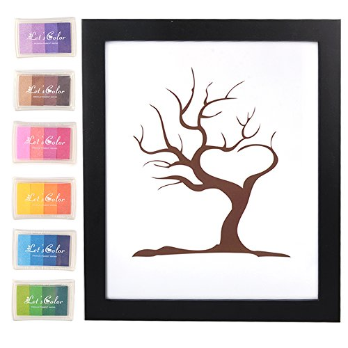The best highest rated wedding tree guest book with products wedding guest book sign in alotpower diy wedding party birthday fingerprint tree signature creative guestbook with 6pcs ink pad 118x157 sciox Gallery