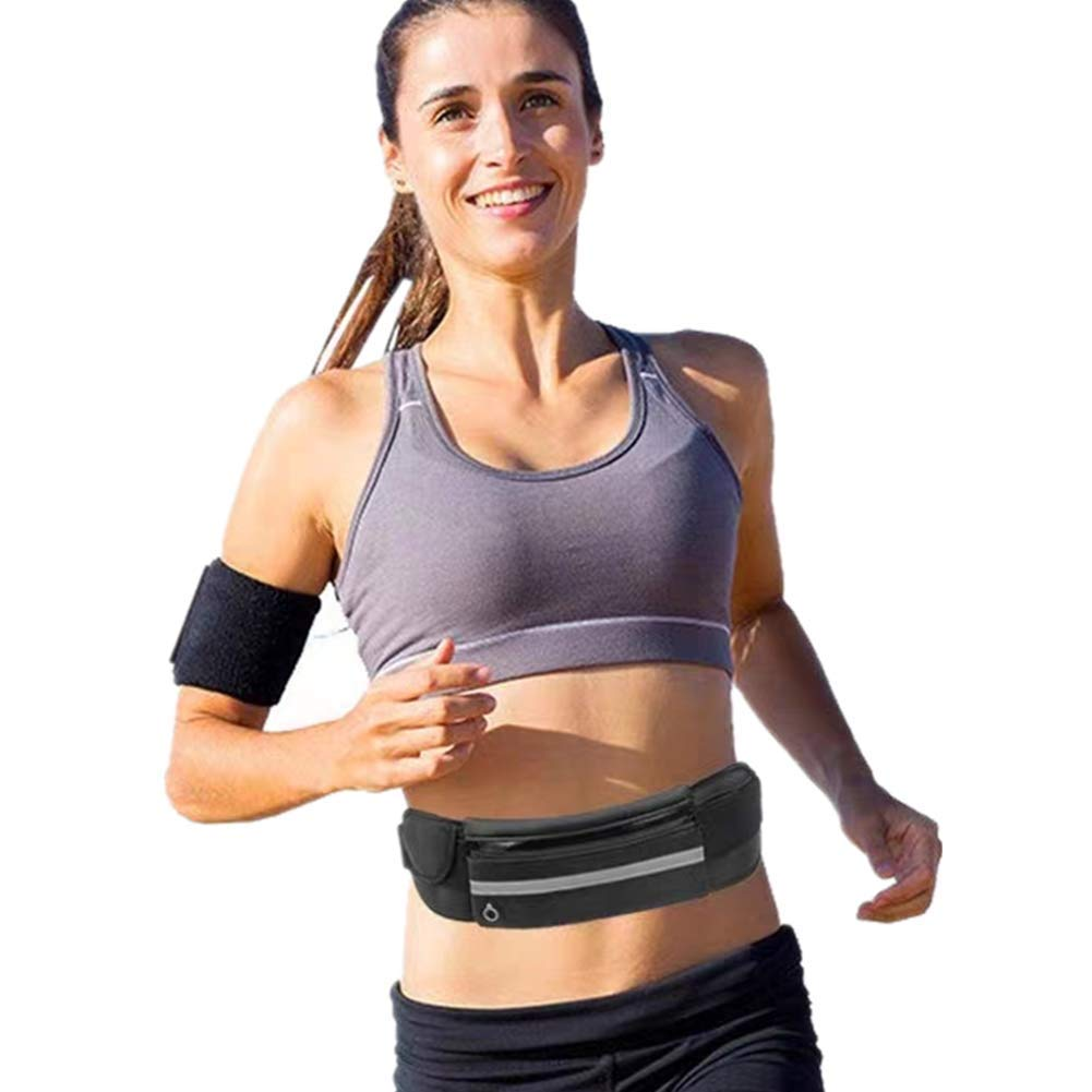 FChome Running Belt Waist Pack,Water Resistant Runners Belt Fanny Pack for Hiking Fitness, Large Security Pockets and Zipper Waist Adjustable Running Pouch for All Kinds of Phones