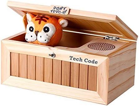 Caja de música Dulcii, caja de madera con tigre de peluche en el interior, juguete divertido para amigos y niños, juguete infantil de madera: Amazon.es: Hogar