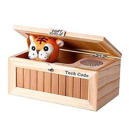 Caja de música Dulcii, caja de madera con tigre de peluche en el