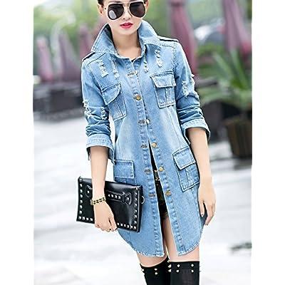 Tanming Women's Casual Lapel Slim Long Sleeve Denim Outercoat Jacket Windbreaker at Women's Coats Shop