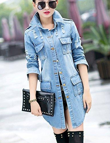 Tanming Women's Casual Lapel Slim Long Sleeve Denim Outercoat Jacket Windbreaker (Medium, Blue) by Tanming (Image #3)