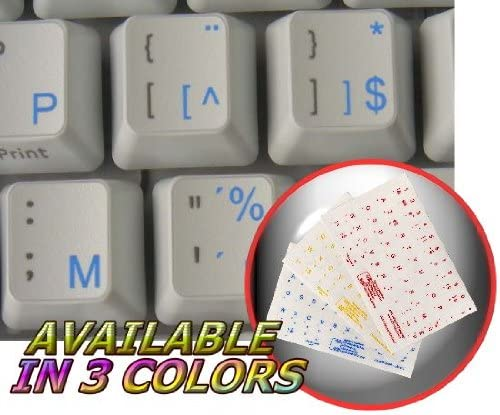 DUTCH BELGIAN KEYBOARD STICKERS WITH BLUE LETTERING TRANSPARENT BACKGROUND FOR DESKTOP LAPTOP AND NOTEBOOK