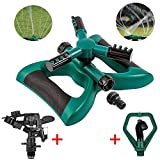 TINANA Lawn Sprinkler Automatic 360 Rotating Sprinklers Lawn Irrigation System Oscillating Rotary High Impact Sprinkler System for Lawns Garden Yard Outdoor- Up 3600 sqft Coverage