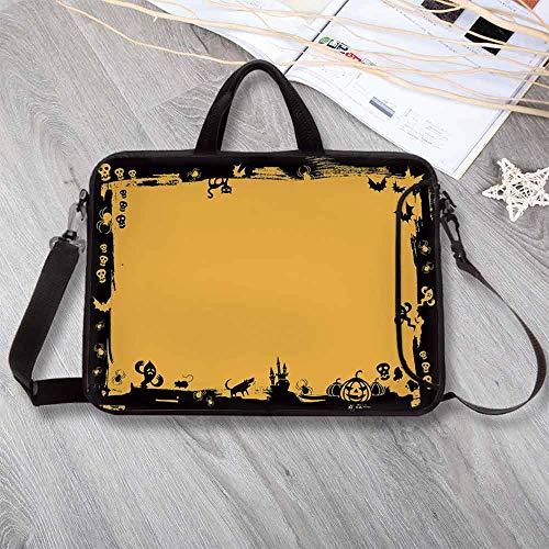 Halloween Waterproof Neoprene Laptop Bag,Black Framework Borders with Halloween Icons Cats Bats Skulls Ghosts Spiders Decorative Laptop Bag for Business Casual or School,14.6