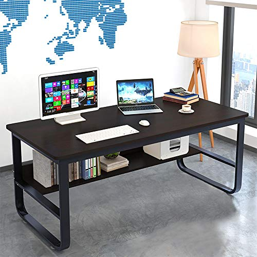 Cloudro Computer Desk Desktop Desk,Simple Student Writing Home Desk,Vintage Office Desk Features Heavy-Duty Metal Base Works As Writing Desk or Study Table by Cloudro (Image #1)